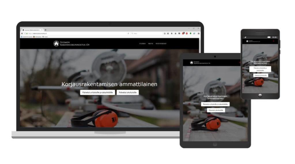 Suomen Rakennuskunnostus Oy nettisivut eri laitteiden ruuduilla